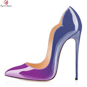 Plus Size Leather Pointy High Heel Pump