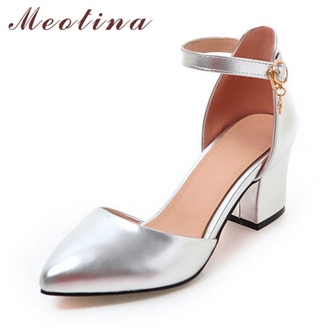 Metallic Mid Heel Ankle Strap Pump