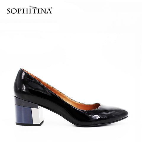 Color Block Heel Patent Leather Pump