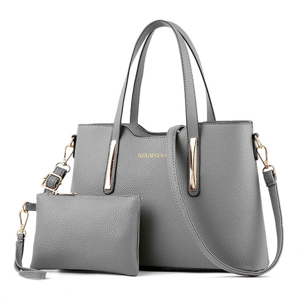 Leather Shoulder Bag with Top-handle and Purse
