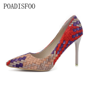 Weave High Heel Pointy Pump