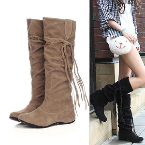 Women Thigh High Tassel Boots