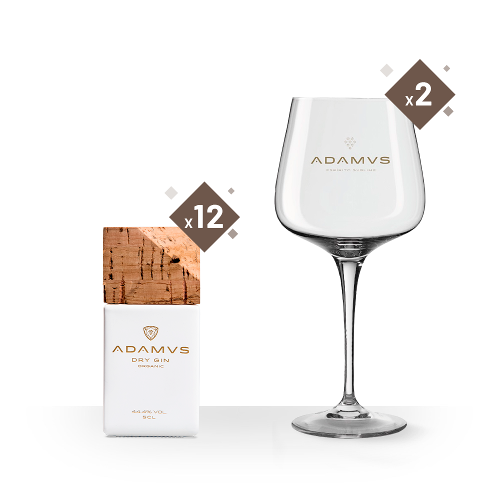 Adamus Organic Dry Gin Miniature (5cl) with 2 Adamus Glasses