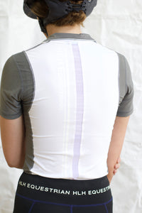 Mesh short sleeve show shirt in White & Grey