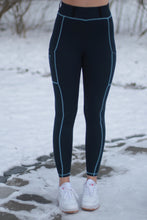 LIMITED EDITION schooling leggings in Navy & Light blue
