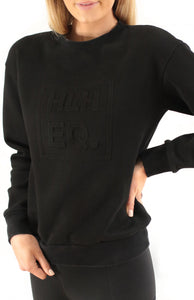 Emboss Crew Sweater in Black