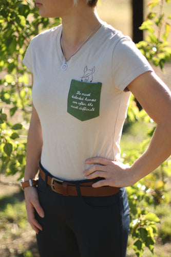 'The most talented horses are often the most difficult' tee in Grey & Hunter Green