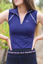 Sleeveless base layer in Navy & White