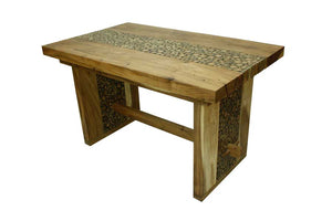 Solid Wood 4 Seater Dining Table Coin Design