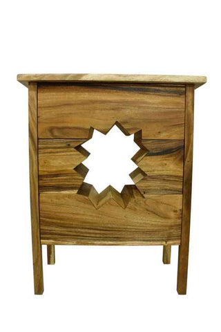 solid wood chest of unique drawes star burst effect