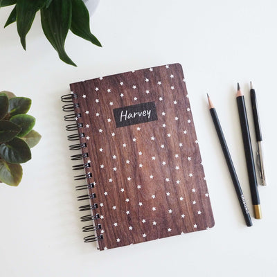 Personalised Star Wood A5 Ring Bound Notebook-Proper Goose