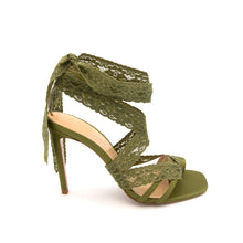 Load image into Gallery viewer, KatirneHanna Parisa khaki green shoes for women green heels green high heels lace green laceup pump heels banksia heels womens shoes brands ecco shoes shoes brands shoes store