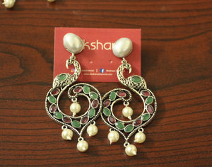 Peacock Pearl stone earrings