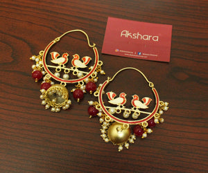 Bird festive matte gold Bali earrings