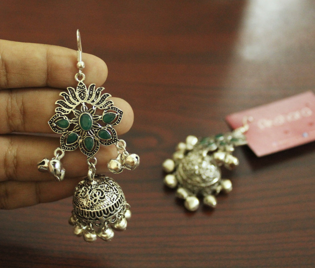 Silver hanging ghungroo stone jhumka