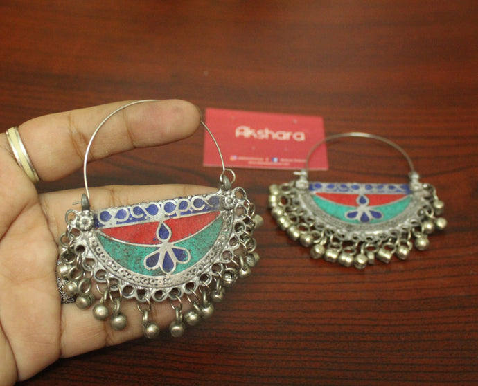 Silver painted ghungroo chandbali Earrings