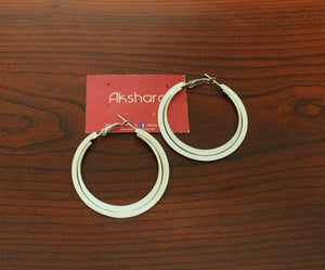 Layered silver hoop earrings