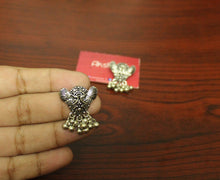 Swan ghungroo silver stud earrings