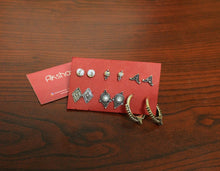 Set of 6 stud earrings