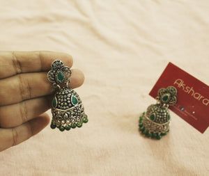 German silver green stoned jhumka