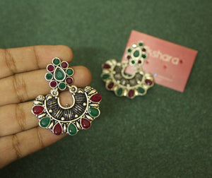 German silver ruby-green chandbali earrings
