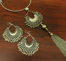 Silver chandbali choker set