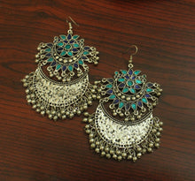 Blue afghani silver ghungroo earrings