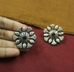 Silver look-alike floral stud earrings