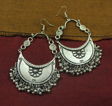 Silver flower afghani ghughroo earrings