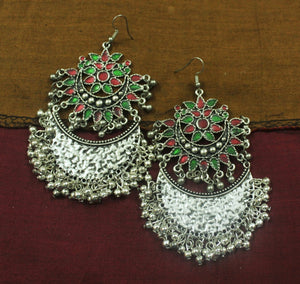 Red-green afghani silver ghungroo earrings