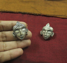 Silver look-alike Buddha stud earrings