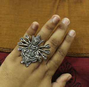 Goddess silver oversized finger ring