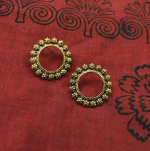 Gold floral circle stud earrings
