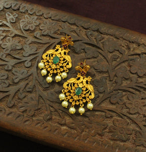 Festive AD Ruby-Green Peacock Earrings