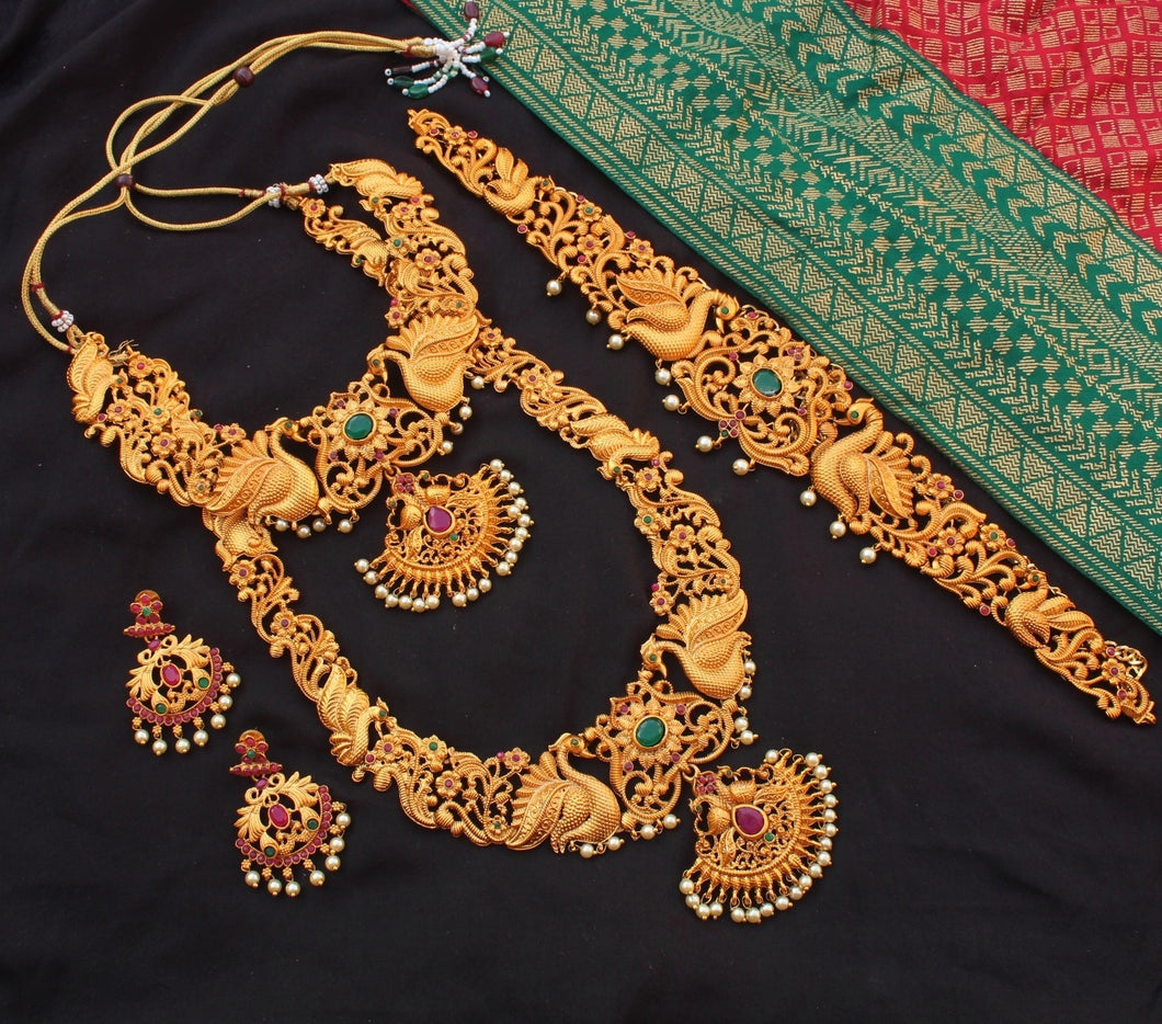 Traditional Ruby-Green Peacock Bridal Set