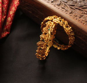 Traditional Ruby-Green Lakshmi Bangles