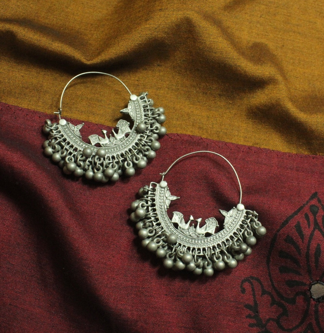 Black Metal Bird Chandbali Earrings