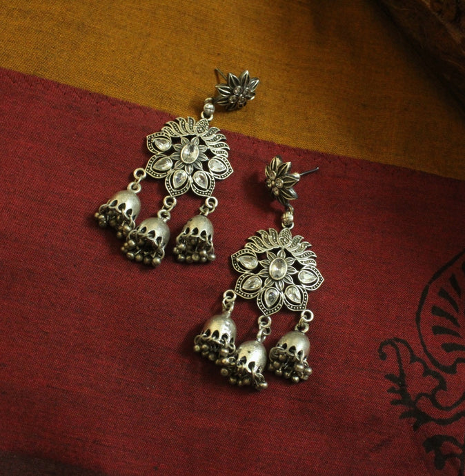 Silver look-alike flower dangle earrings