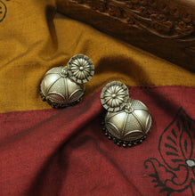Silver look-alike flower jhumka