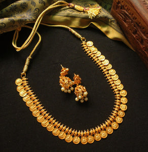 Traditional Gold Look-alike Lakshmi Coin Set