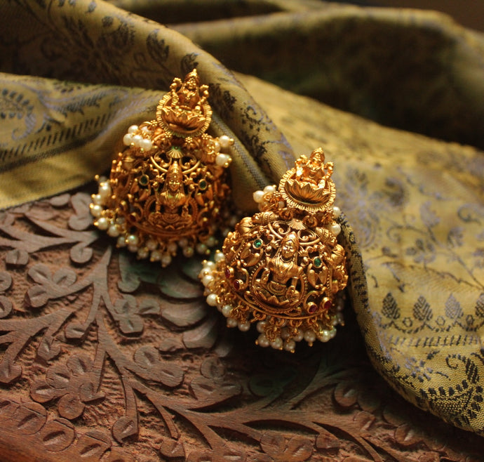 Traditional Lakshmi Ruby-Green Pearl Jhumka