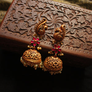 Traditional Oversized Peacock Floral Jhumka
