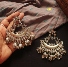 Oversized Silver Bird Chandbali Earrings