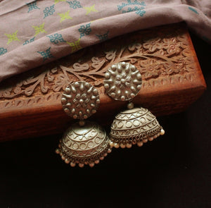 Oversized Silver Floral Jhumka