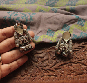 Silver look-alike Haathi Earrings
