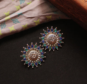 Silver Oversized Flower Stud Earrings