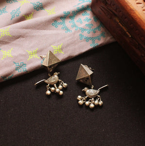 Silver look-alike bird earrings