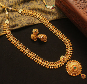 Traditional Peacock Flower Haaram Set