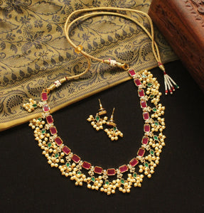 Traditional AD Ruby-Green Pearl Set
