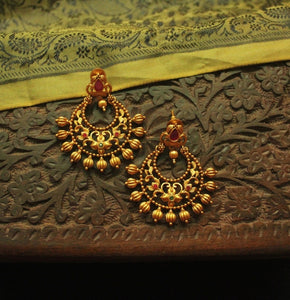 Traditional Ruby-Green Chandbali Earrings